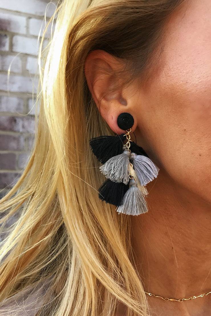 Black + White + Gray Fringe Earrings