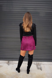 Star-Studded Suede Skirt