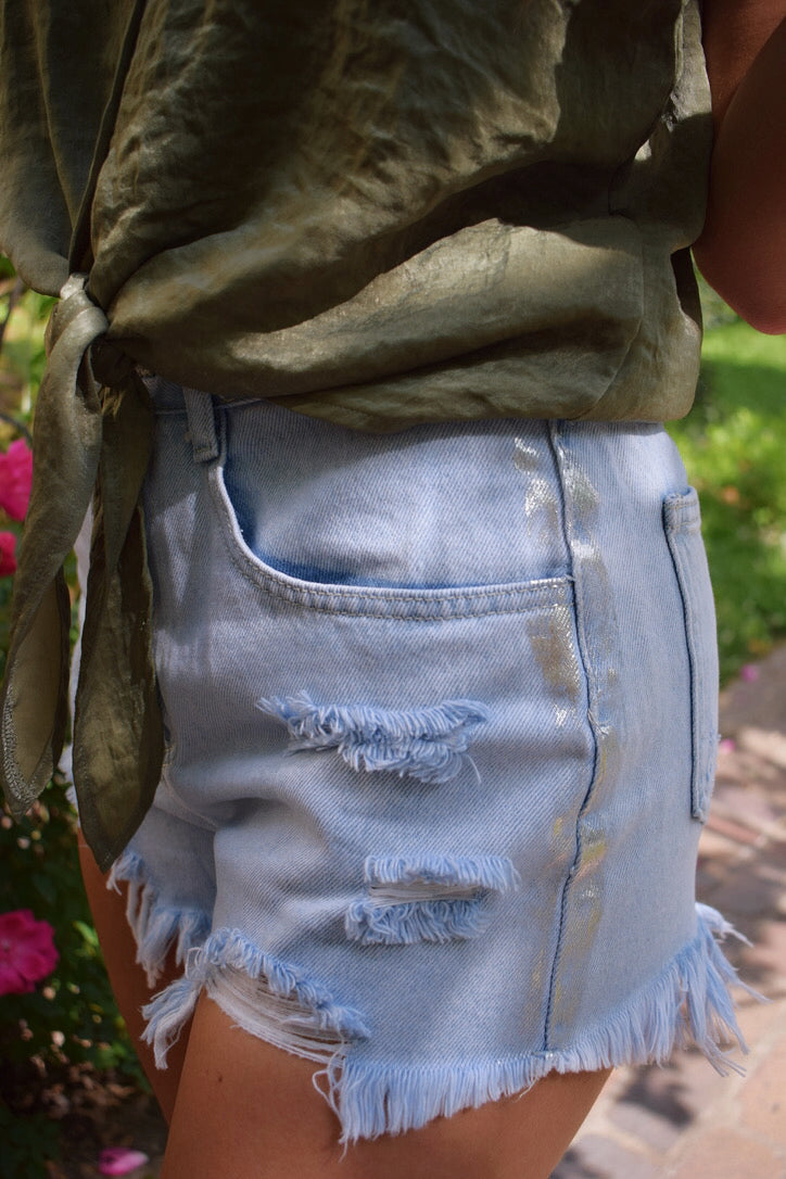 Hartford Distressed Metallic Jean Shorts