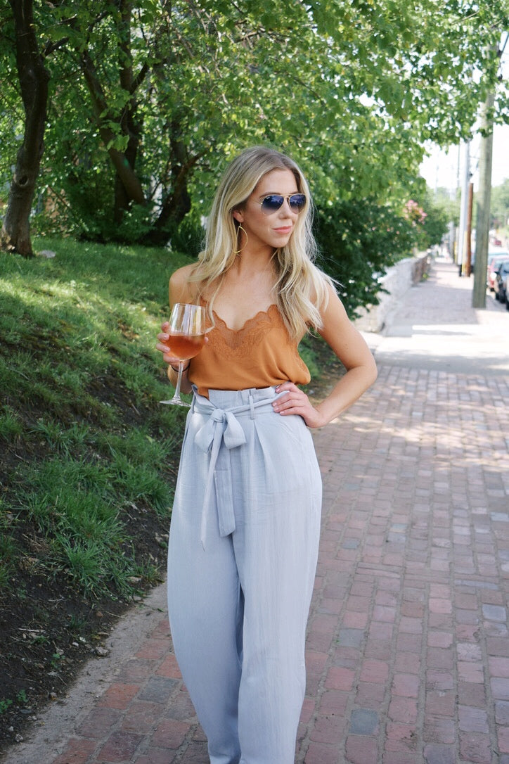 Steel Blue Jacqueline High Waisted Pants
