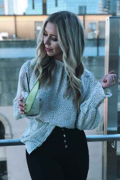 On The Spot Polka Dot Ivory and Black Top