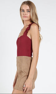 Wild Honey Ruffle Burgundy Bodysuit
