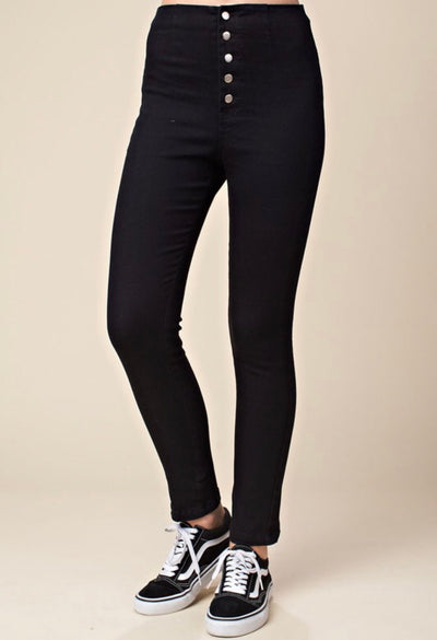 Stella High Waisted Button Skinny Jeans