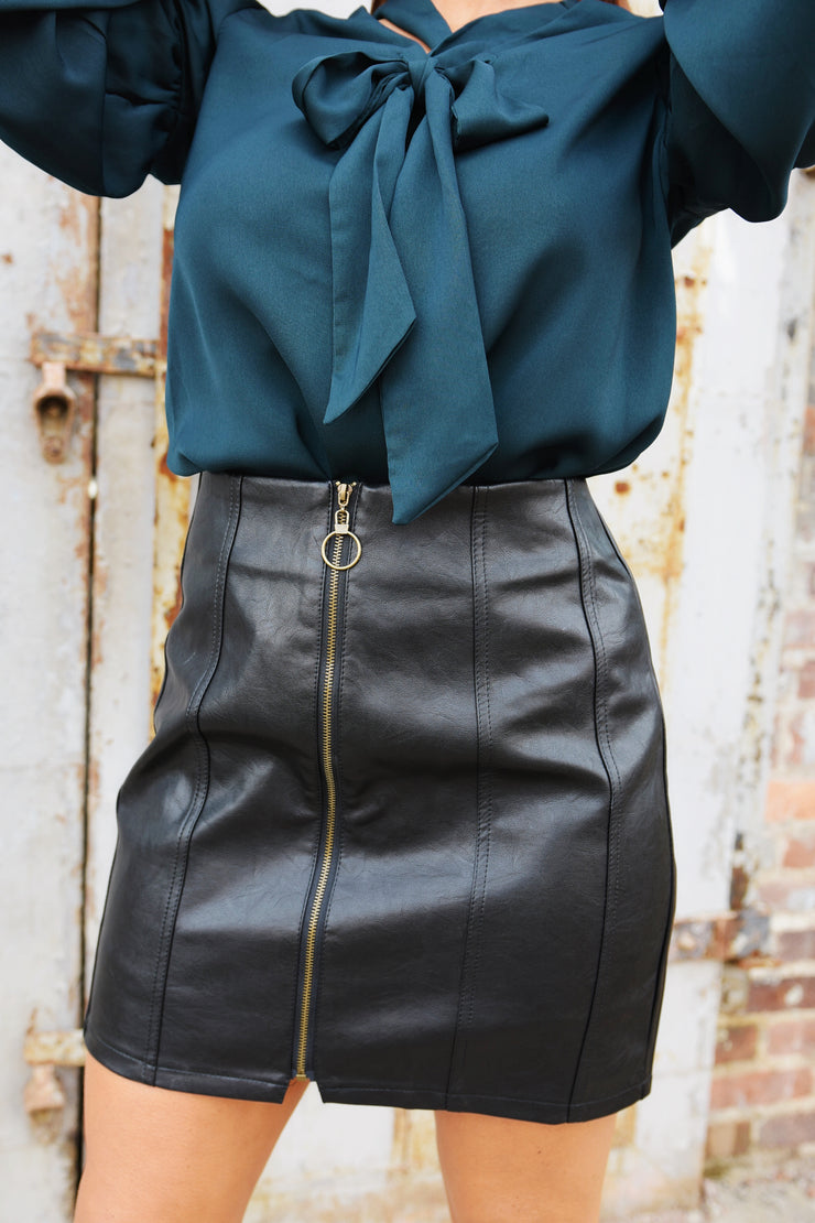 Rock and Roll Zip Up Leather Skirt