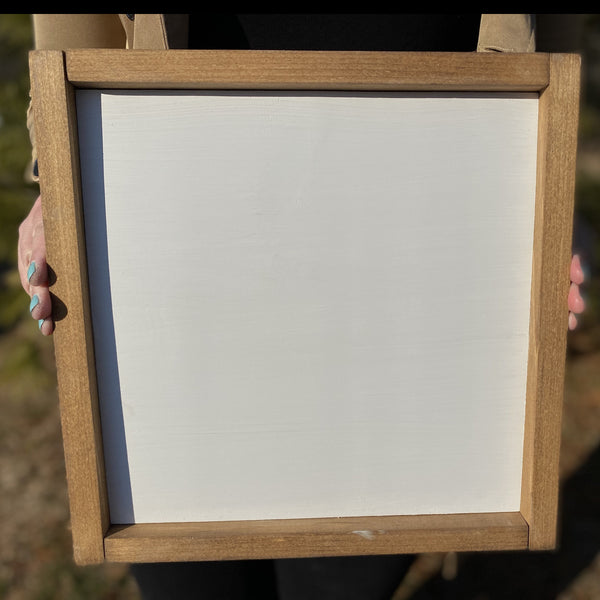 1x1 framed white with wood frame