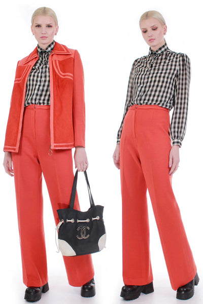 70s Orange Leather and Wool Knit Pantsuit High Waist Pleated Pants and Jacket 2pc Set Women's S