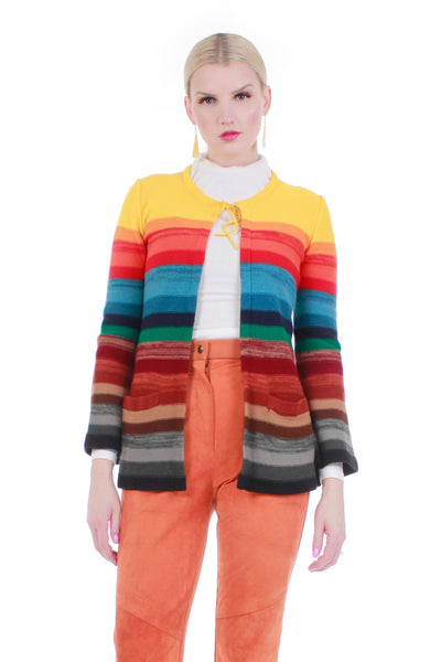 70s Vintage Rainbow Space Dyed Striped Soft Acrylic Knit Cardigan Sweater with Bell Sleeves Women Size S