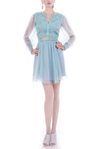 Vintage Pastel Blue Sequin and Bead Bodice Chiffon Mini Dress