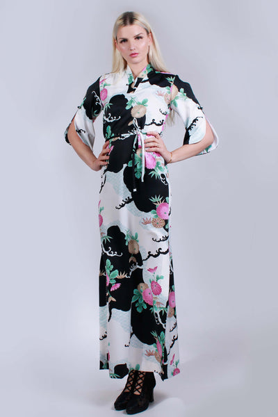"60s 70s ANDRADE Hawaii Asian Floral Kimono Sleeve Maxi Dress Black White Pink Vintage Women Size Small / Medium- 36""bust- 36"" waist- 37""hips"