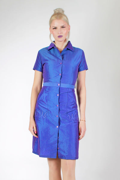Deadstock ROXY Quicksilver from Nordstrom True 1990s Vintage IRIDESCENT Purple Blue Mini Shirt Dress Flame PocketsMade in the USA Size