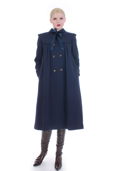 60s Navy Blue Wool Cape Coat Lolita Dolly Wide Sweeping A-line Rothschild Size S