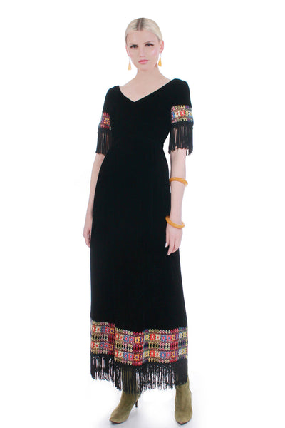 "60s 70s Vintage Fringe Embroidered Black Velvet Maxi Dress Women's Size XS - 33"" bust - 26"" waist - 36"" hips"