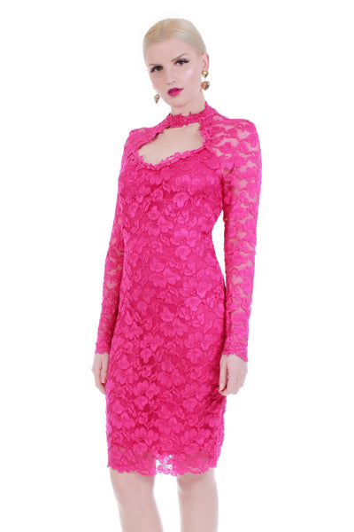 90s Hot Pink Stretch Lace Bodycon Long Sleeve Midi Dress With Cutout and Choker Neckline size M