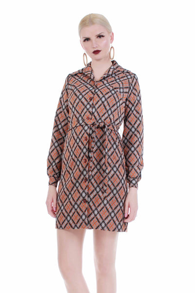 70s Plaid Double Knit Poly Belted Shirt Dress Women's Size Small