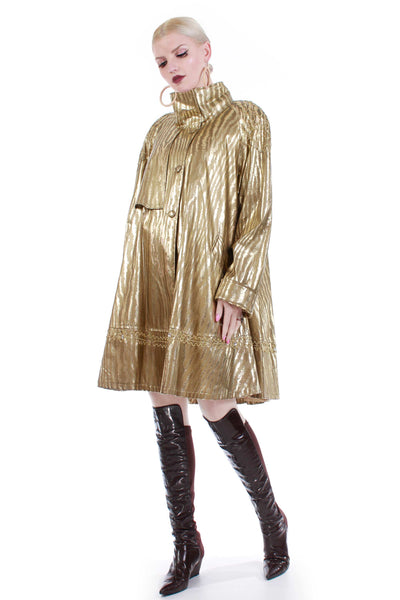 80s Gold Lamé Metallic Swing Jacket Shiny Lightweight Animal Print Coat Women's Size XL