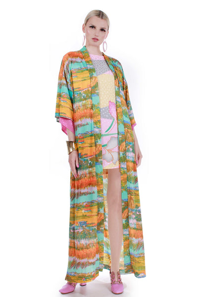 70s Vintage MONET Watercolor Wearable Art Slinky Print Duster Robe Kimono Jacket
