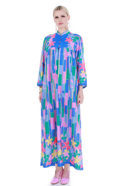 Colorful Vintage Caftan Maxi Lounge Dress MuuMuu Blue Pink Yellow Green Soft Poly Womens Size Large