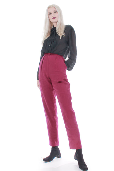 80s Cranberry Linen High Waist Pants Jones New York