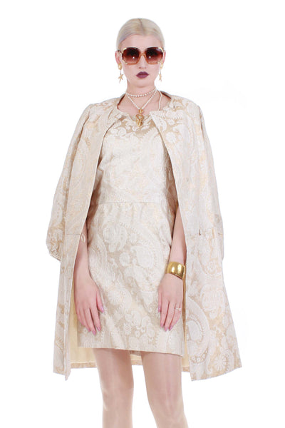 60s 2pc Gold Lurex Brocade ELOISE CURTIS for David Styne Paisley Floral Jacket Dress