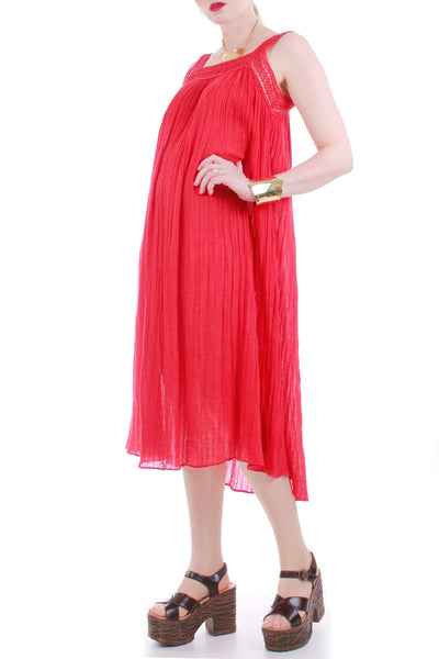 Vintage Red Gauze Grecian Trapeze Midi Dress