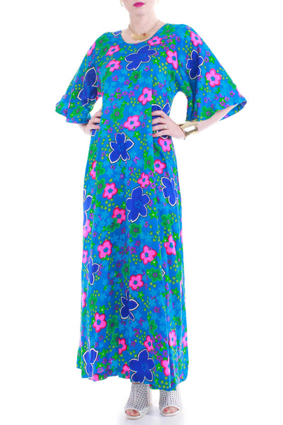 60s Neon Barkcloth Caftan Maxi Dress