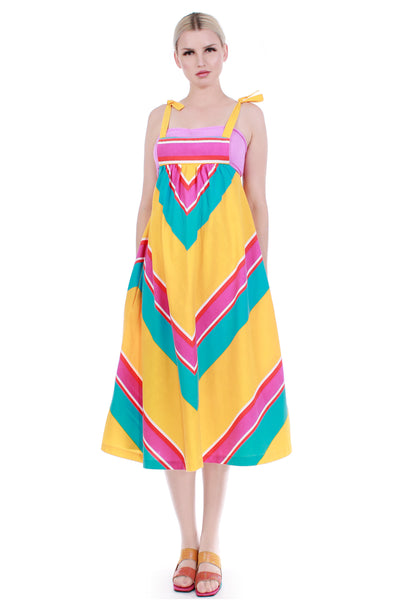 70s Vibrant Cotton Chevron Pinafore Apron Jumper Dress with Pockets