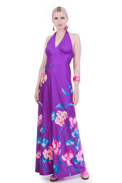 70s Tropical Halter Maxi Dress Purple Pink Soft Poly Jersey Smocked Royal Palm Hawaii