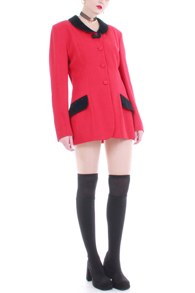 Vintage Moschino Cheap and Chic Red Wool 2 Piece Skirt Suit Made in Italy