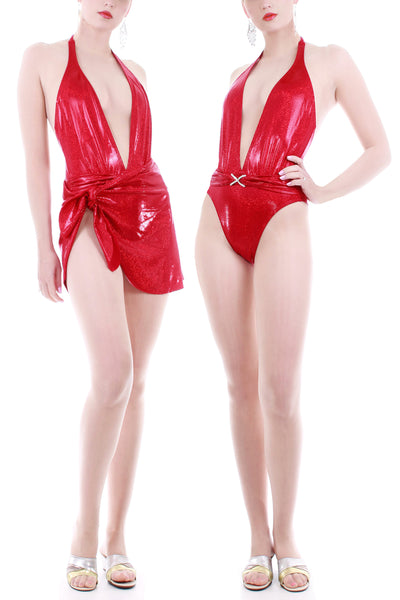 90s Red Metallic High Cut 2pc Swimsuit and Wrap Skirt