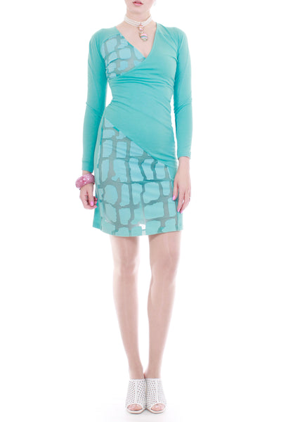Y2K Versus Versace Baby Blue Virgin Wool Cashmere Knit and Sheer Mesh Dress
