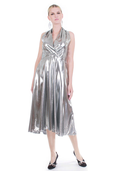 Vintage LIQUID Silver Lamé Metallic Shiniest Plunge Wide Sweeping Below Knee Length Dress Women's Size Large