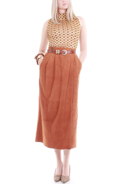 Vintage Orange Suede High Waist Wrap Skirt Made in the USA