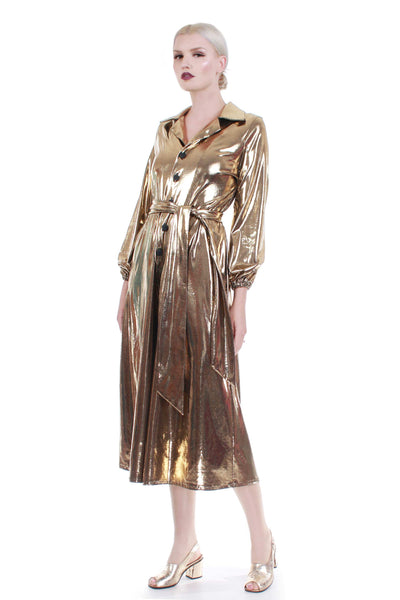 80s Jumpsuit Gold Metallic Huge Wide Leg Culottes Shiny Wet Look Sash Belt Women's Size Medium-Large