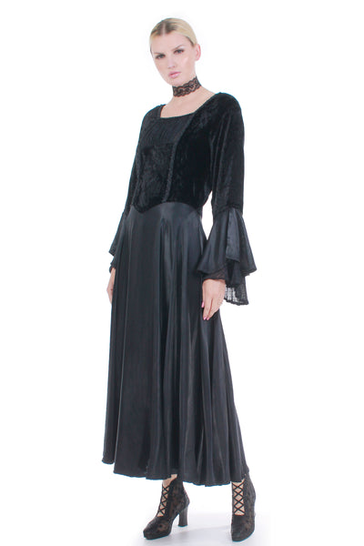 90s Gothic Renaissance Crushed Velvet and Black Liquid Satin Trumpet Sleeve Wide Sweeping Maxi Dress Women's Size Medium - Large