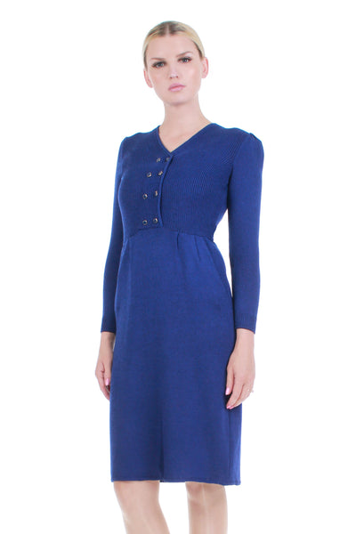 Vintage ST. JOHN Wool Knit Dress Deep Royal Blue Fitted Long Sleeve Sweaterdress Women's Size Small-Medium