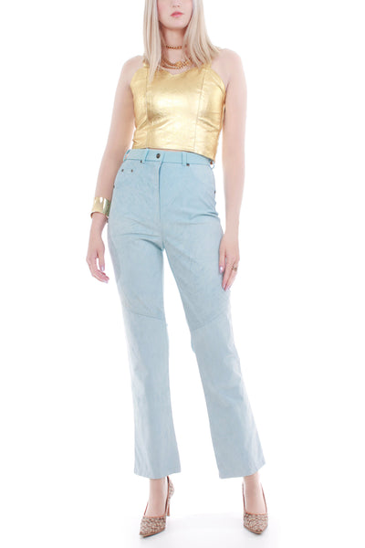 90s Pastel Blue Suede High Waist Stretch Pants