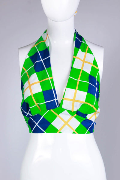 70s Plaid Halter Crop Top Blue White Green Yellow Silky Polyester Women's Size Medium