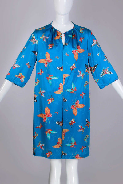 60s Silky Nylon BUTTERFLY Novelty Print Colorful Blue Vanity Fair Dressing Gown Caftan Loungewear WFH Women's Size Large