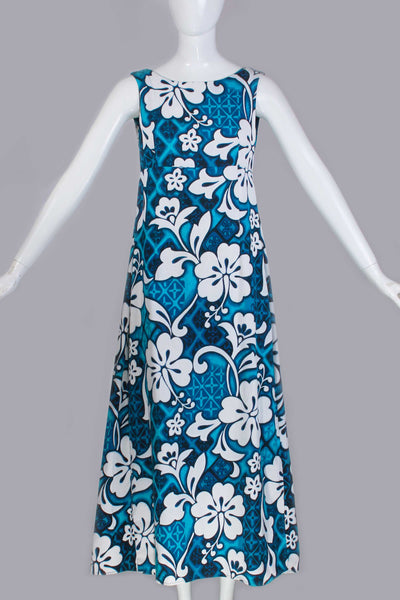 "1960s Vintage BARKCLOTH Hawaiian Sleeveless ALOHA Maxi Dress Blue White Hibiscus Floral Print Women's Size Small - Medium 36"" bust 34"" waist"