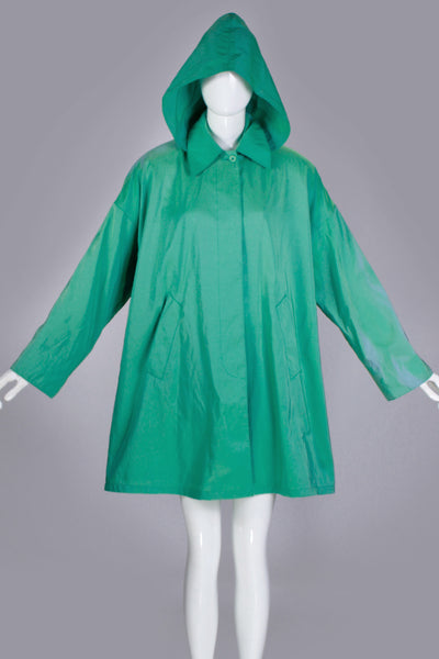 "80s Iridescent Swing Jacket Green Blue Hooded Raincoat Jones New York Made in the USA Womens Size XL - 50"" bust - 52"" waist - free hips"