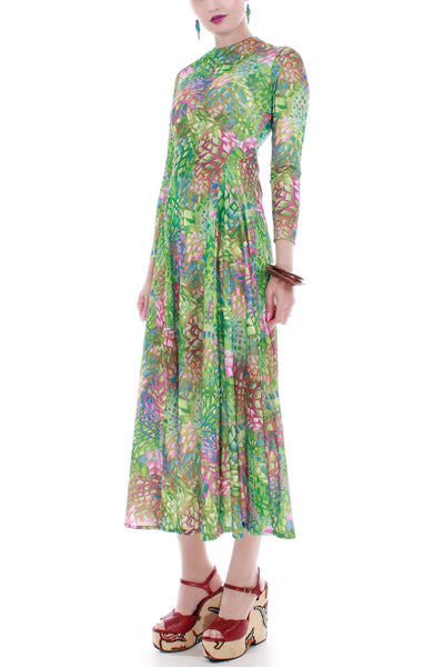 70s Vintage Stained Glass Stretchy Jersey Maxi Dress