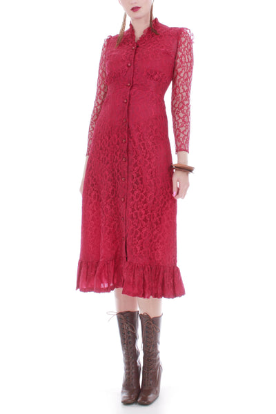 Vintage Berry Red Lace Victorian High Collar Dress