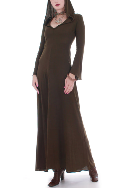70s Vintage Georges Factory Slinky Hooded Brown Bell Sleeve Maxi Dress