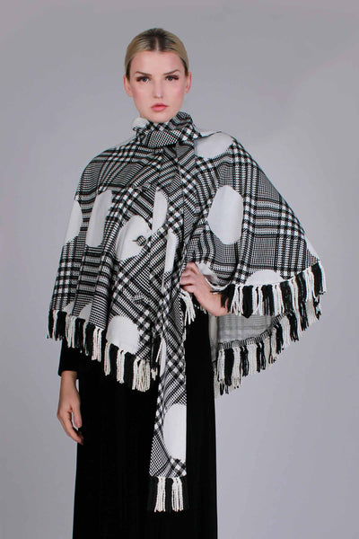 "60s Vintage MOD OP ART Woven Fringe Cape Poncho with Matching Scarf Set Black and White Space Age Plaid One Size Fits All Most 20"" neckline"