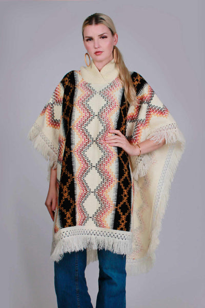 1970s Vintage Fringe Poncho Sweater Knit Cape Southwestern Earth Tone Women's One Size Fits All