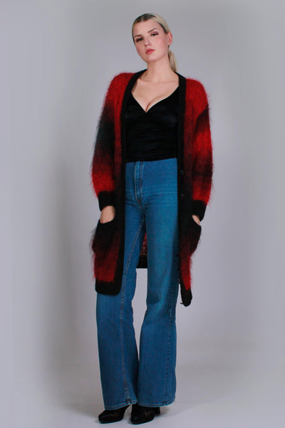 "New Zealand MOHAIR Handknit Cardigan Sweater Red Black Ombre Long Oversized 80s Vintage Women's Size XL - 44"" bust - 41"" waist - 41"" hips"