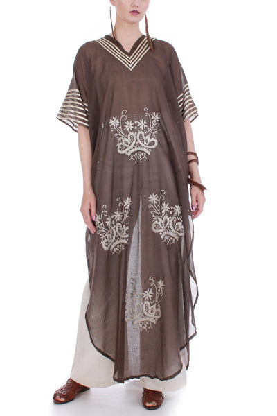 70s Vintage Embroidered Brown Cotton Caftan Maxi Dress