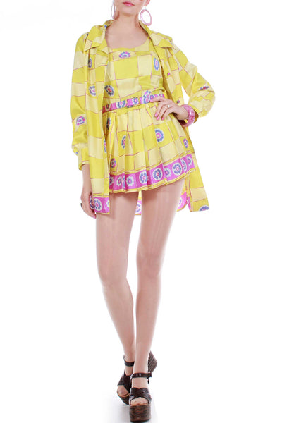 Vintage 1960s 2pc Romper and Jacket Swimsuit Set Psychedelic Mod Print Made in America