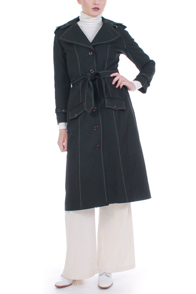 70s Vintage Trench Coat Black Poly Knit by Ms. Limited Size Small