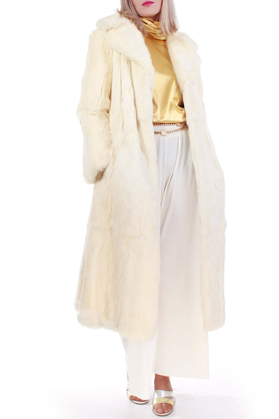 "White French Rabbit Fur Coat 1970's Vintage Size Small - Medium 38"" Bust MINT!"